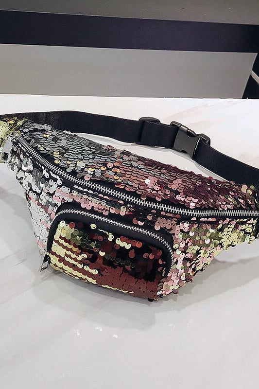Sequined Waist Bag White