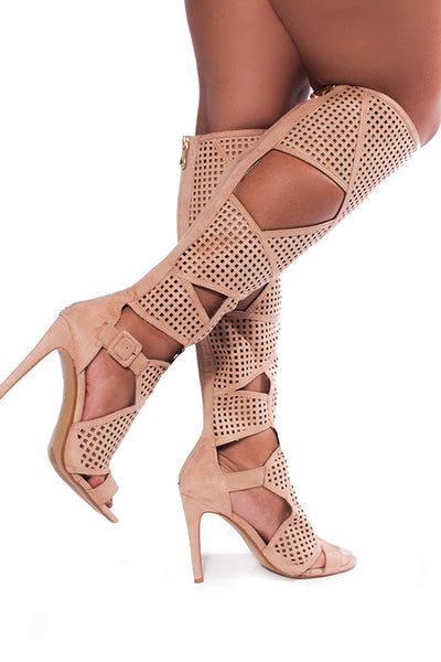 Knee high nude cut out gladiator
