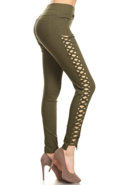 Lace up fashion pants green