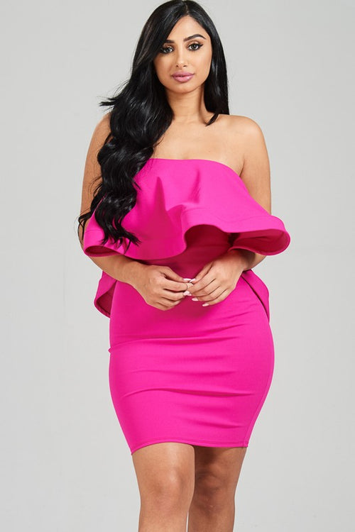 Solid ruffled strapless dress with back zipper