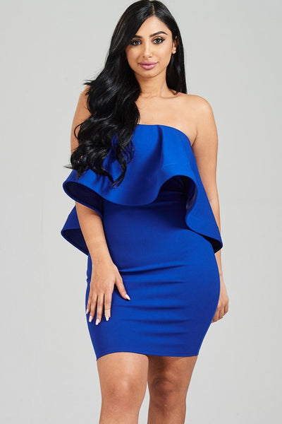 Solid ruffled strapless dress with back zipper Royal
