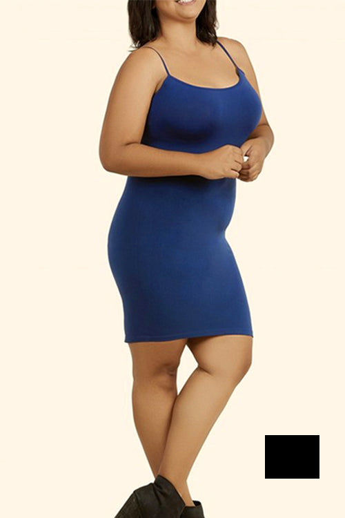 PLUS SIZE SEAMLESS Spaghetti Dress Black