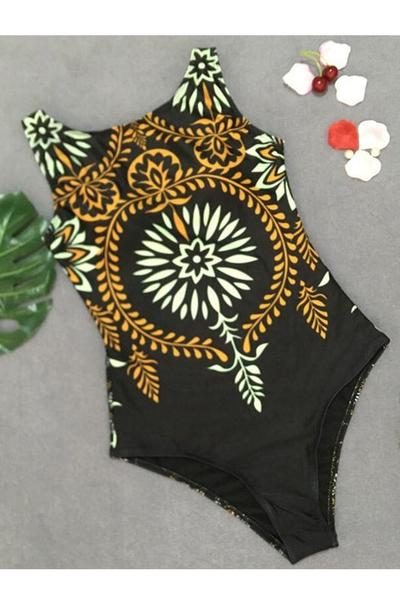 One Piece Strapless Printed Swimsuit Black