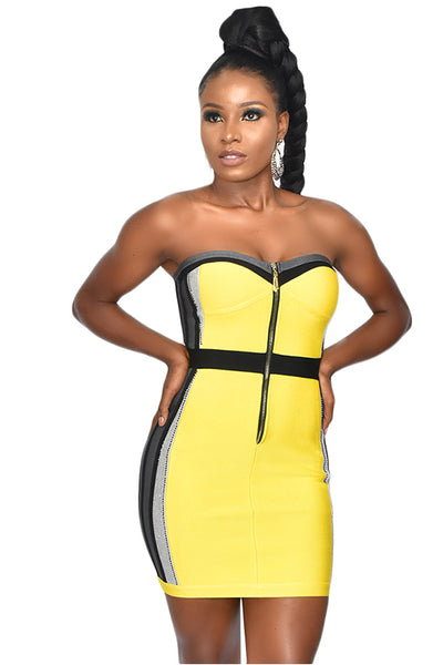 Yellow Dazzle Bandage Dress