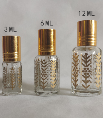 Printed Glass Attar bottles with Plastic Applicators or Roll-on top.