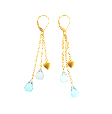18K Aquamarine Heart Dangle Earrings
