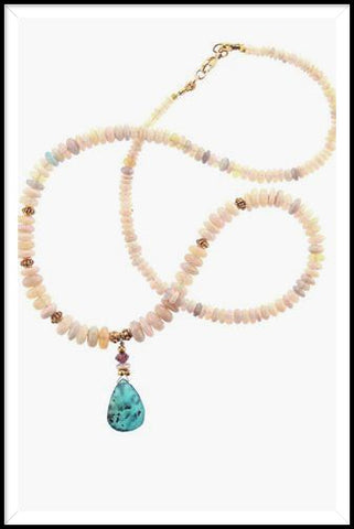 18k Australian Opal with Pink Tourmailne Peruvian Opal Drop Necklace