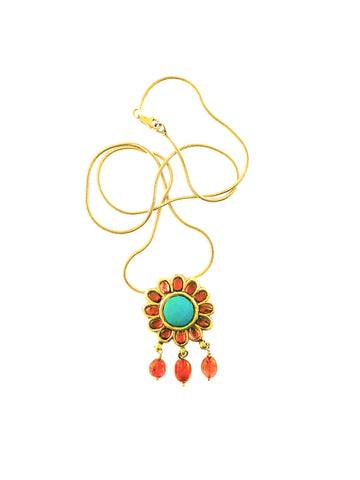 Antique 18k Turquoise, Pink Tourmaline Flower Pendant on 18K Gold snake chain