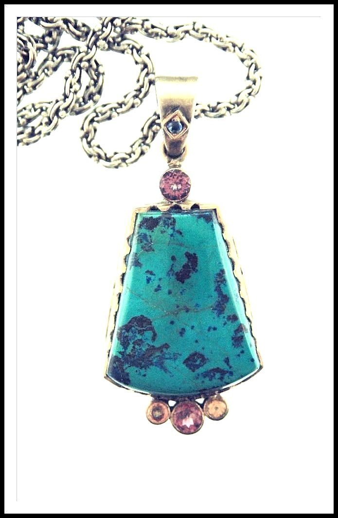Vintage Indian Sterling Silver 18K Gold Bird's Eye Turquoise with Sapphire, Pink Tourmaline and Citrine