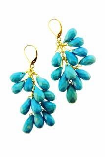 18k Sleeping Beauty Turquoise Cascade Earrings