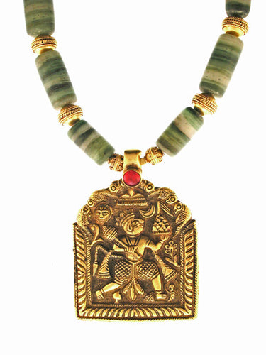 Antique 18K Hanuman Pendant on 18K gold antique glass strand