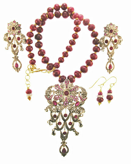 Antique sterling Silver/18k Diamond Ruby Pendant on Ruby 18k strand with earrings