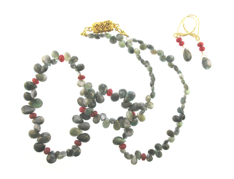 Cats eye and Ruby Briolet set