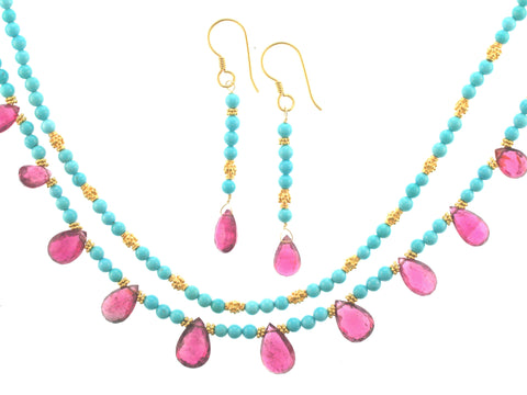 Rose Tourmaline on Sleeping Beauty Turquoise Set
