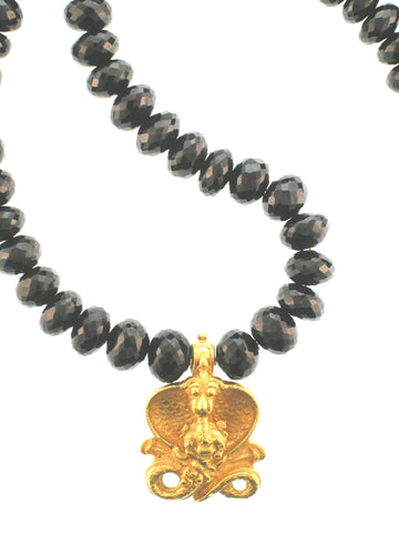 18K Gold Ganesha on Spinel strand