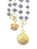 18K Gold Sapphire Scapular with 18K Saraswati and Ganesha Charms