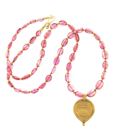 18 K Dakini Goddess Pendant on Pink Tourmaline and 18K Gold Strand