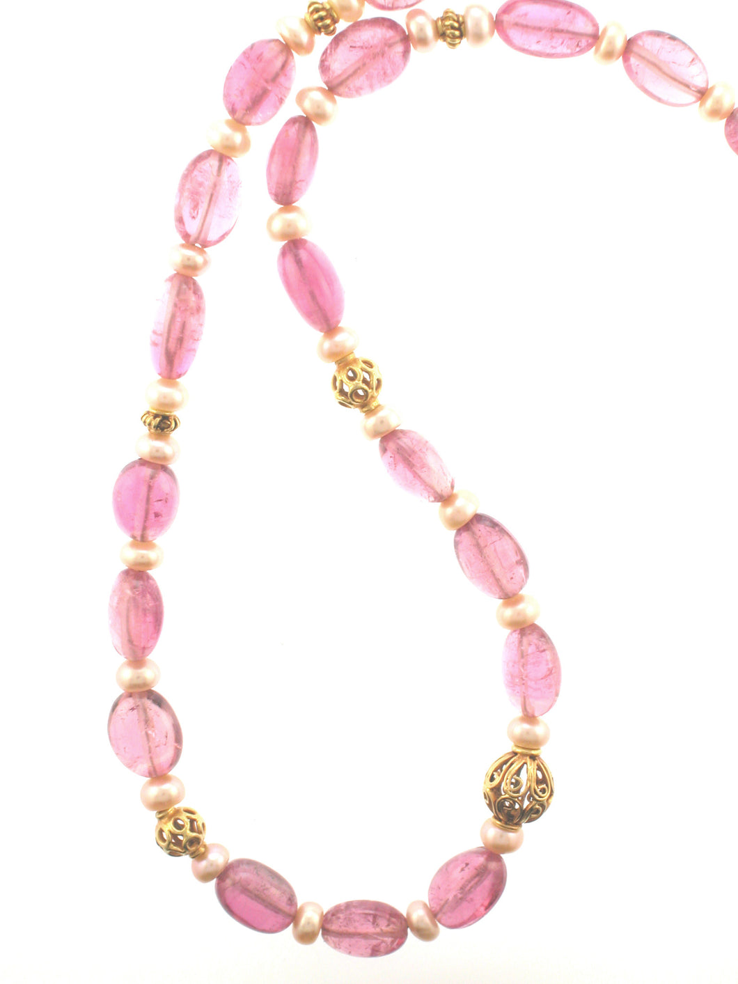 18k Pink Tourmaline and Pearl Necklace