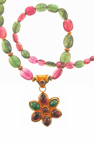 Antique 18K Emerald Ruby Flower on Pink and Green Tourmaline