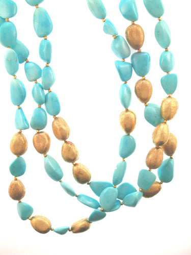 Turquoise 18K Gold Nugget Necklace