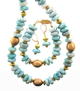 18K Gold Nugget Larimar Set    Necklace, Bracelet and Earrings
