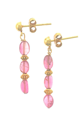 18k Pink Tourmaline Earrings