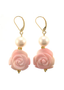 18K Pearl and Carved Conch Shell Rosette Earrings