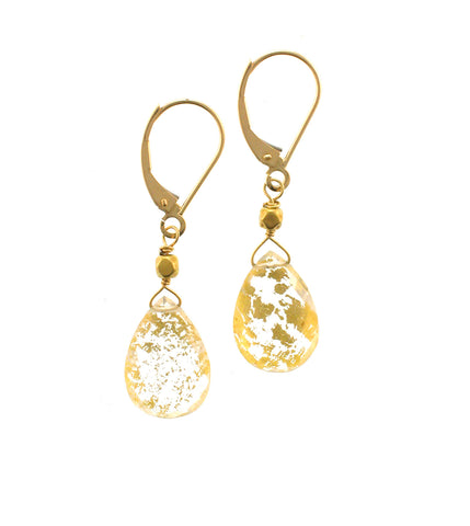 18K GOLD LEAF WHITE TOPAZ EARRING