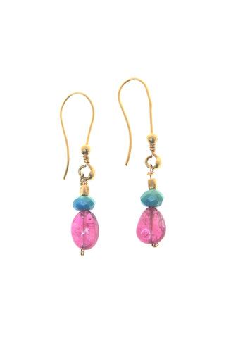 18K Turquoise Pink Tourmaline Drop Earrings