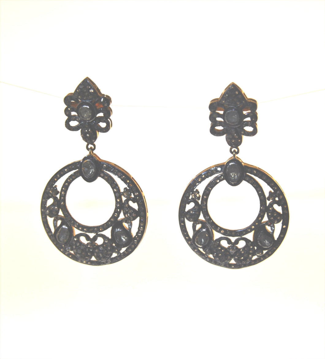 MIDNIGHT SILVER 18V ROSECUT AND PAVE DIAMOND EARRINGS