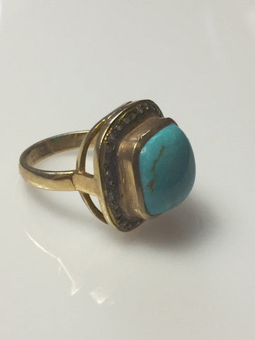 BLACKENED STERLING TURQUOISE DIAMOND RING