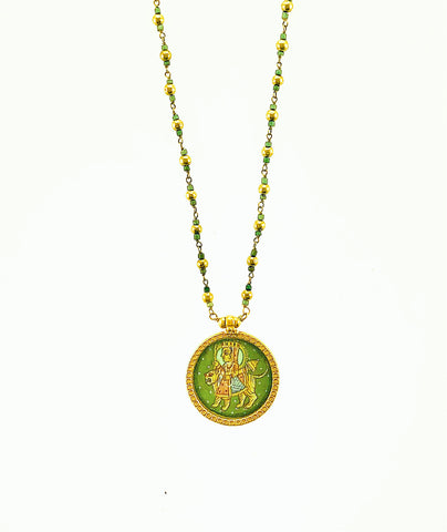 18K Hand-painted Durgha Pendant on 18k twisted Turquoise chain.