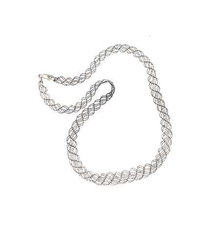 14K White Gold Braided Lace Chain