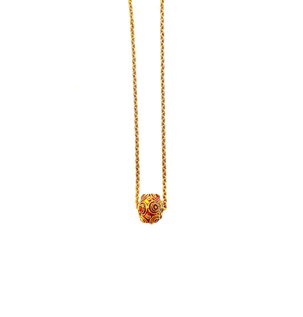 Antique 18K Gold and Ruby Bead on 18K Chain