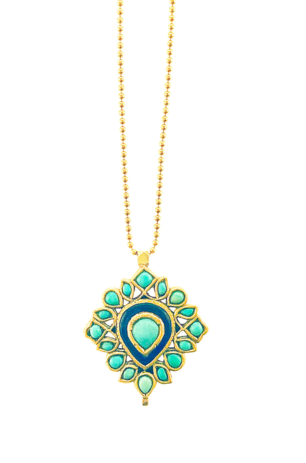 Antique 22K Gold Turquoise and inlaid Sapphire Pendant on Ballbead Chain