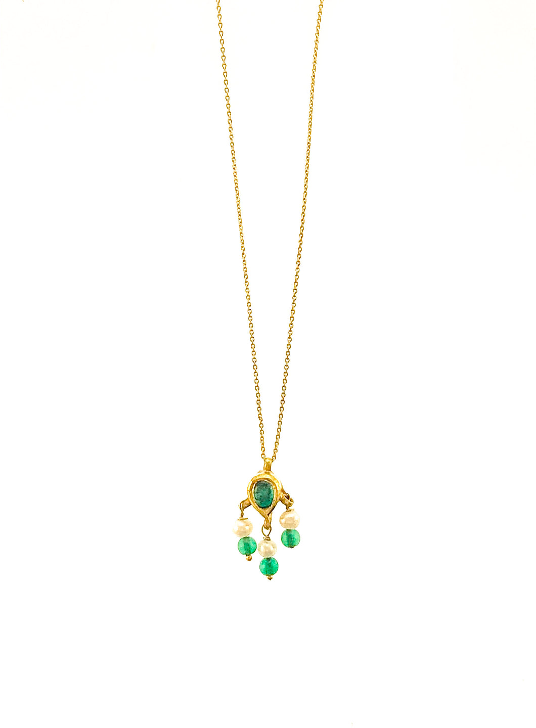 Antique 18K Emerald and Pearl Drop on 18K Chain