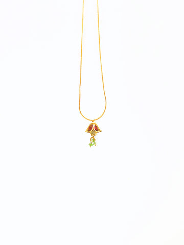 18k Antique Ruby , Emerald, and Rose Cut Diamond Charm on 18K Snake Chain.