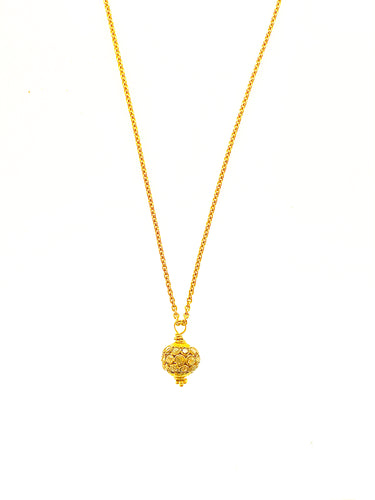 18K Gold Beveled Diamond Oscar Bead on 18K Gold Chain