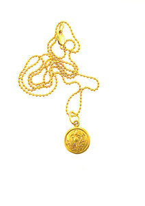 18K Gold Kali Durgha Charm on 18K ball bead chain