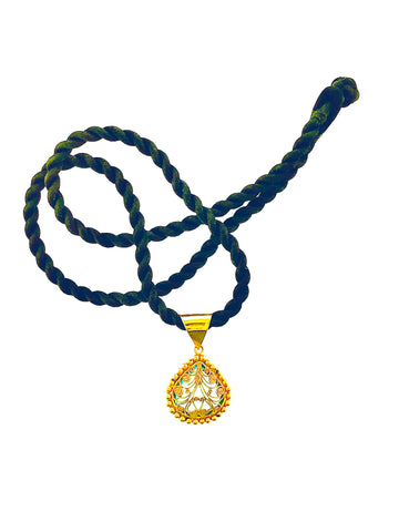 18K Gold Filagree Blue Topaz Drop on Silk Cord