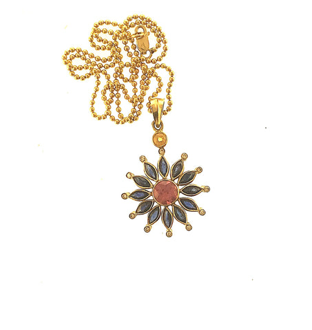 Vintage 14K Yellow Gold Sapphire, Pink Tourmaline, Citrine Diamond Flower Burst on 18k Ball bead chain