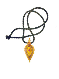 Vintage 18k Yellow Gold and Ruby Shield Pendant on Silk Cord