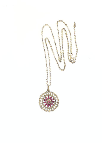 Sterling Silver Diamond and Ruby Mandela Pendant on Sterling Silver Chain