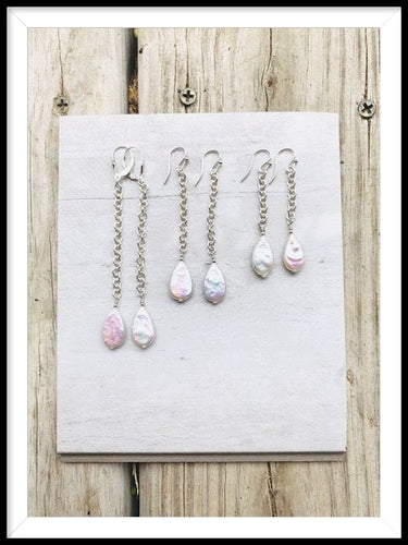 Sterling Silver Rain Drop Pearl Earrings