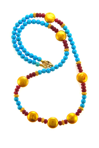 18k Gold Sleeping Beauty Turquoise Ruby Coin Pearl Necklace