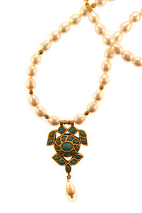 22k Antique Turquoise Pendant on  Pearl Strand