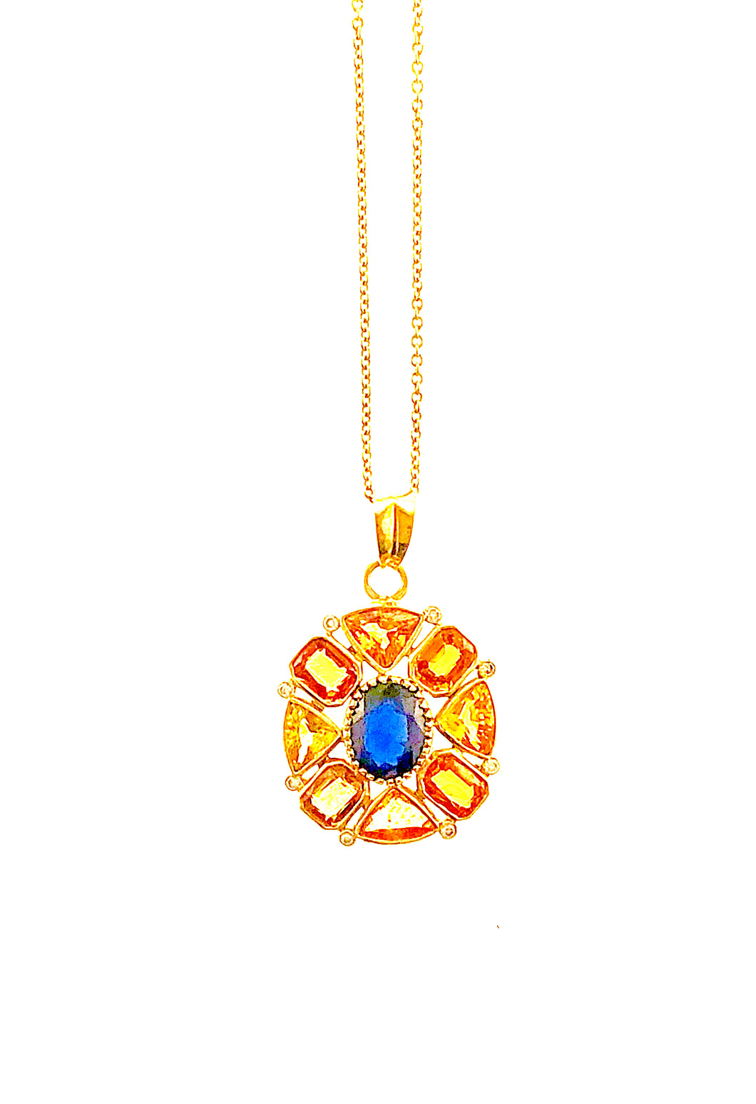 14k Vintage Indian Citrine, Sapphire, Diamond Pendant on 18K chain