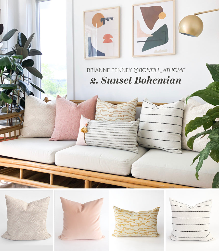 Sunset Bohemian blush pink mustard yellow white patterned pillows from Tonic Living