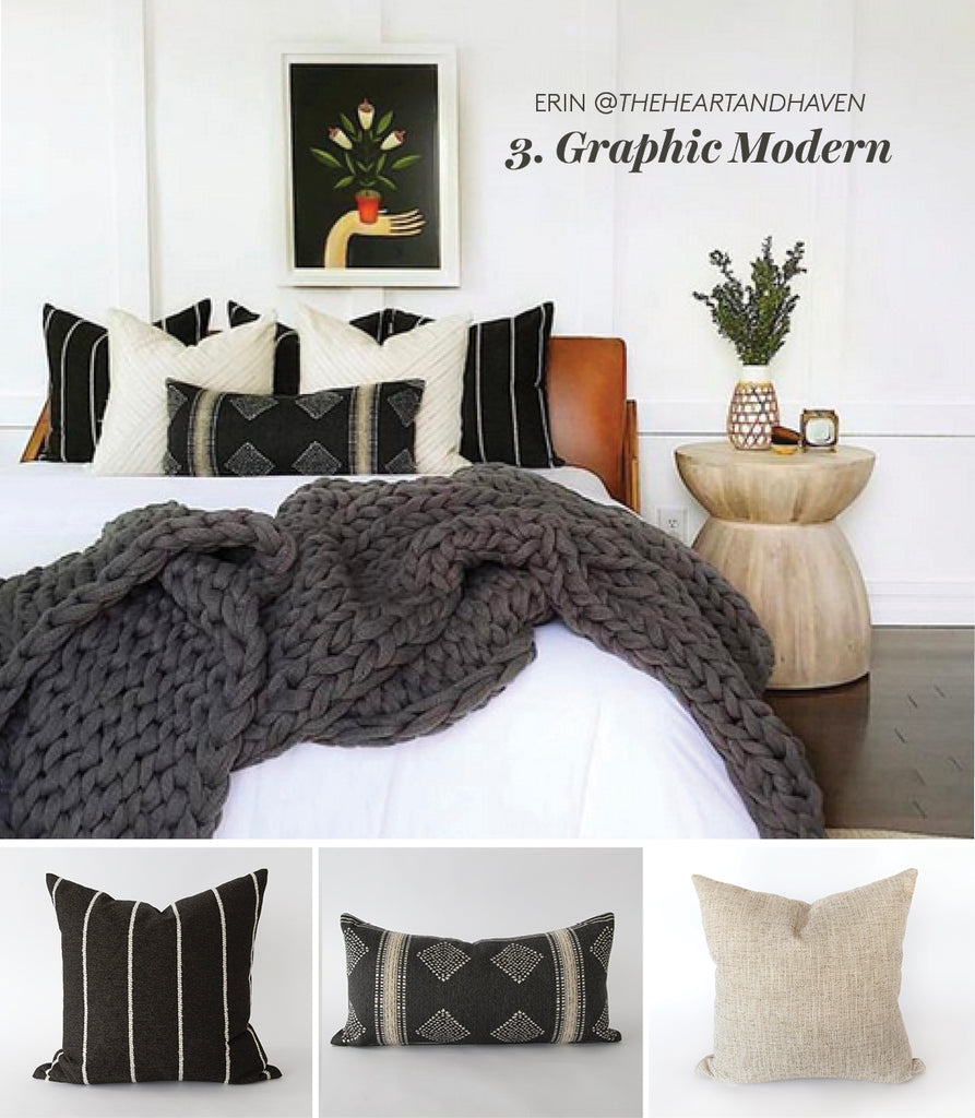 Graphic Modern black and cream pillows from The Heart and Haven @theheartandhaven