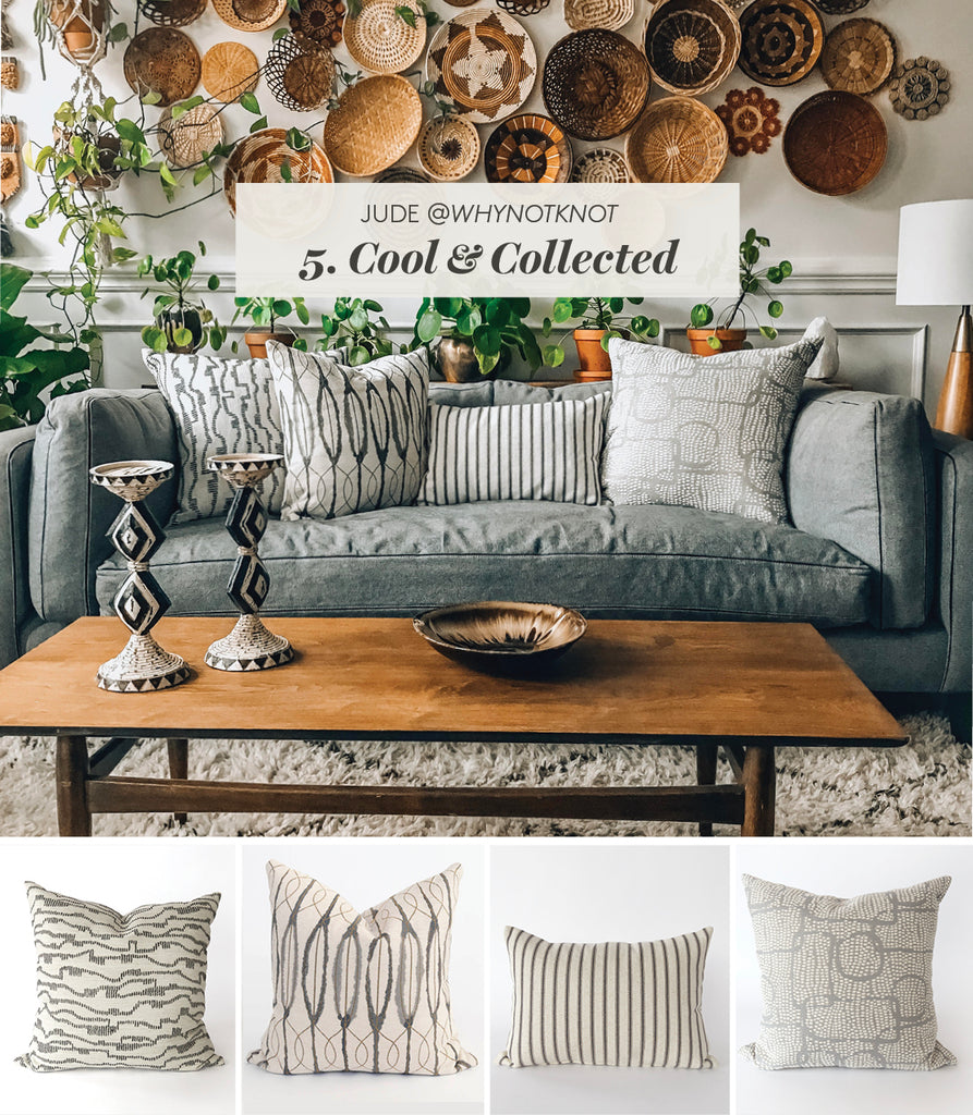 Cool and Collected pillow combo grey white mix from Tonic Living